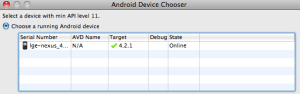 Android Device Choose showing Nexus 4