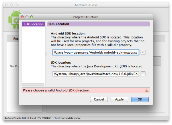 Setting the SDK Path in Android Studio