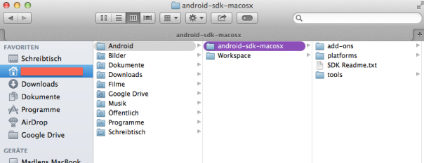 Android SDK folder structure