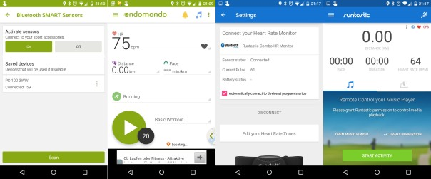 Epson PS-100 with Endomondo Runtastic